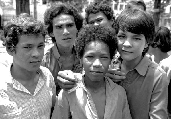 Amerasian boys hanging out in Ho Chi Minh City, 1988.